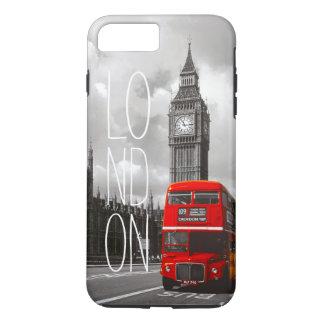Tipografía roja de Big Ben del autobús de la Funda iPhone 7 Plus