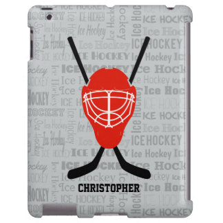 Tipografía roja del casco y de los palillos del funda para iPad