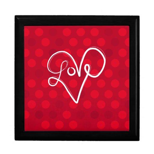 Tipografía roja del corazón del amor caja de recuerdo