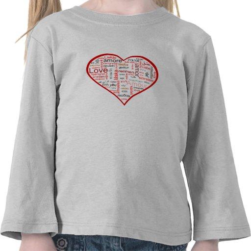 Tipografía roja del corazón del amor camiseta
