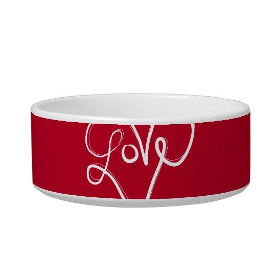 Tipografía roja del corazón del amor comedero para mascota