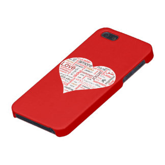 Tipografía roja del corazón del amor iPhone 5 fundas