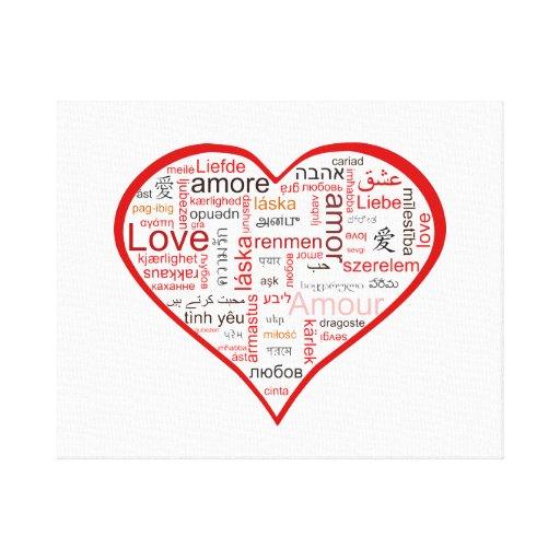 Tipografía roja del corazón del amor lienzo envuelto para galerias