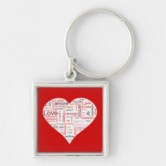 Tipografía roja del corazón del amor llavero cuadrado plateado