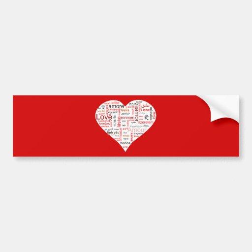 Tipografía roja del corazón del amor pegatina para auto
