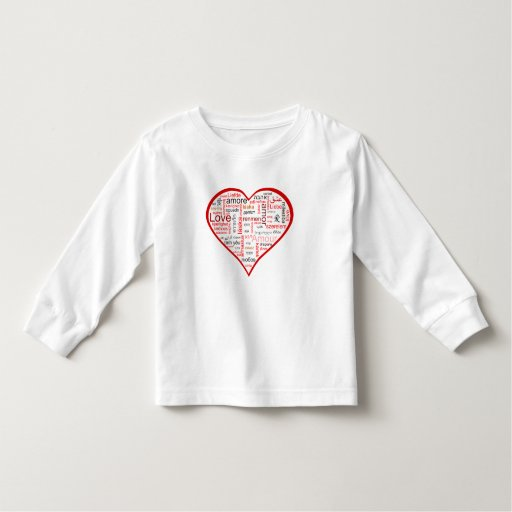 Tipografía roja del corazón del amor playera de bebé