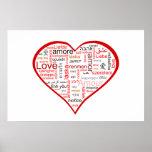 Tipografía roja del corazón del amor posters