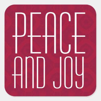 Tipografía roja y blanca de la paz y de la alegría pegatina cuadrada