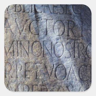 Tipografía romana en el foro, Roma, Italia Pegatina Cuadrada