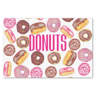 Tipografía rosada del buñuelo y anillos de espuma papel de seda pequeño