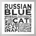 Tipografía rusa del gato azul posters