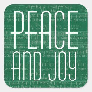 Tipografía verde y blanca de la paz y de la pegatina cuadrada