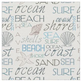 Tipografía y cáscaras de la playa del mar y de la telas
