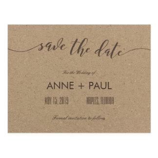 Tipografía y reserva del papel de Kraft la fecha Postales