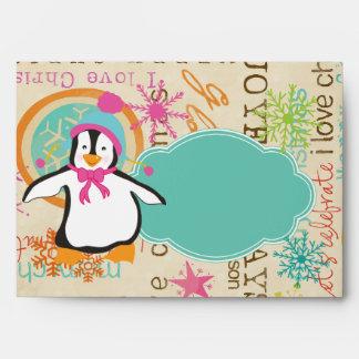 Tipografía y sobre del navidad de los pingüinos