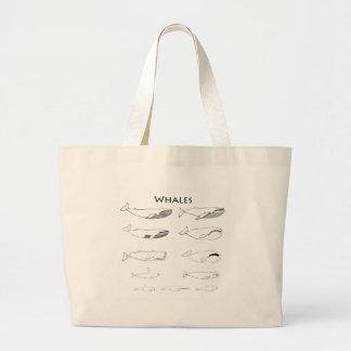 Tipos de ballenas (línea ejemplos del arte) bolsa