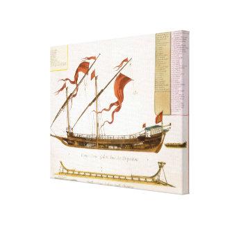 Tipos de envío: una galera doble-masted: sección impresión en lienzo
