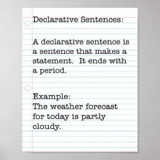 Tipos de frases:  Frases declarativas Póster