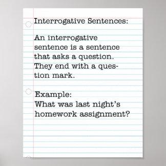 Tipos de frases:  Frases interrogativas Póster