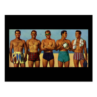 tipos de la playa de los años 50 postal