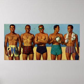 tipos de la playa de los años 50 póster