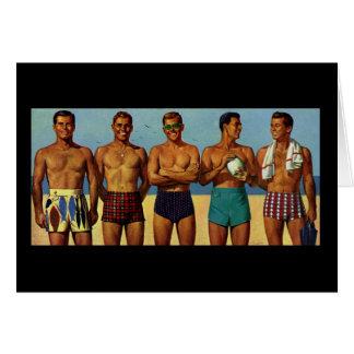 tipos de la playa de los años 50 tarjeta de felicitación