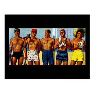 tipos de la playa de los años 50 tarjetas postales