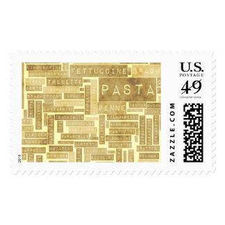 Tipos de las pastas y variedad clasificada de timbres postales