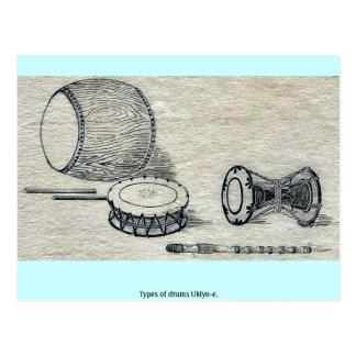Tipos de los tambores Ukiyo-e. Tarjetas Postales