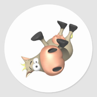 Tipped Over Cow Classic Round Sticker