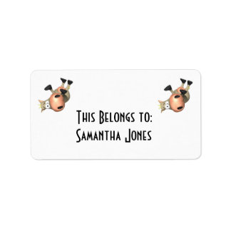 Tipped Over Cow Label