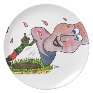 Tipping the head back melamine plate