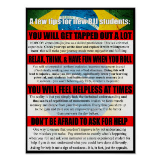 Tips for BJJ Beginners Gym Poster