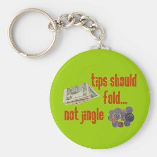 Tips should fold basic round button keychain