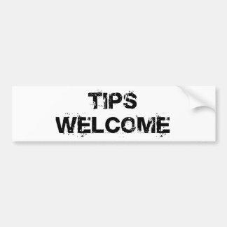 Tips Welcome Car Bumper Sticker