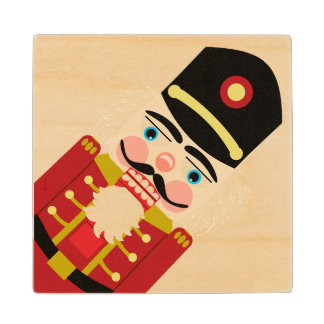 Tipsy Nutcracker for Christmas Traditional in Red Wooden Coaster