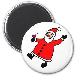 Tipsy Santa 2 Inch Round Magnet