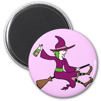 Tipsy Witch 2 Inch Round Magnet