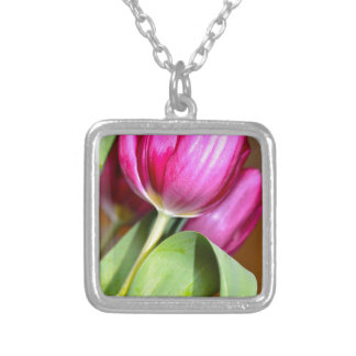 Tiptoe Through The Tulips Silver Plated Necklace