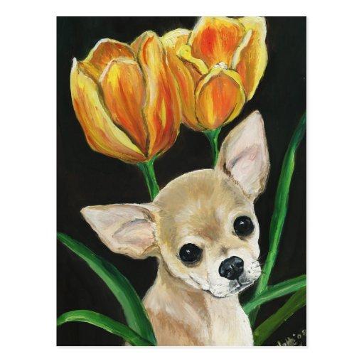 """TipToeing Thru the Tulips"" Chihuahua Art Postcard"