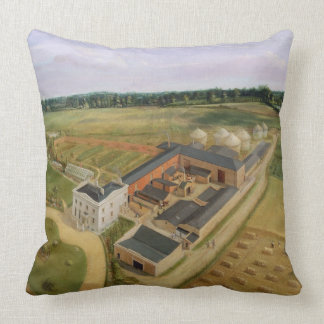 Tiptree Hall and Farm, Essex, c.1850-60 (oil on ca Throw Pillow