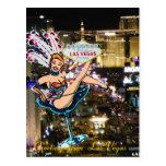 Tira, corista, y signo positivo de Las Vegas Tarjeta Postal