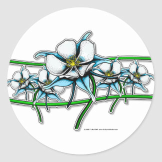 Tira de la flor de Columbine Pegatinas Redondas
