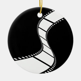 Tira de la película adorno navideño redondo de cerámica