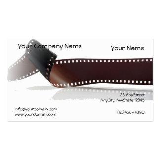 Tira de la película con la reflexión en el fondo tarjetas de visita