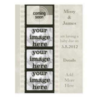 Tira de la película del vintage que viene pronto tarjeta postal