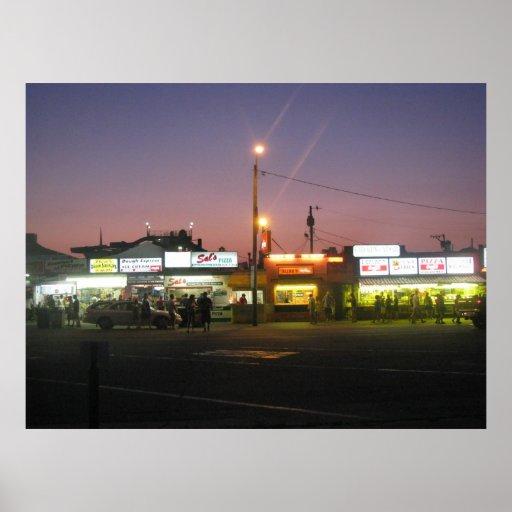 Tira de la playa de Hampton en la noche Póster