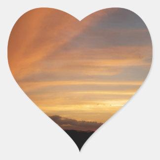 Tira de la puesta del sol pegatinas de corazon