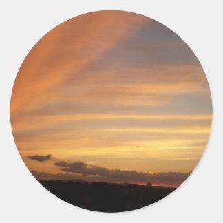 Tira de la puesta del sol pegatinas redondas