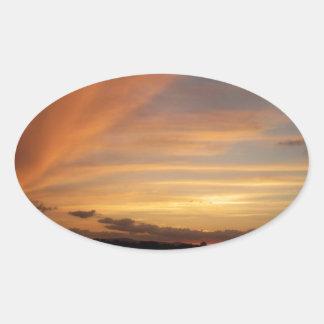 Tira de la puesta del sol calcomania óval personalizadas